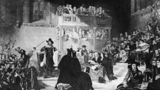 Trial of King Charles I from a painting by Fisk