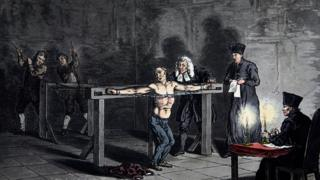 pintura de homem sendo torturado na inquisição