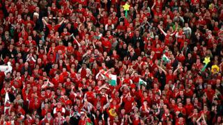 Wales rugby fans at Principality Stadium, Cardiff
