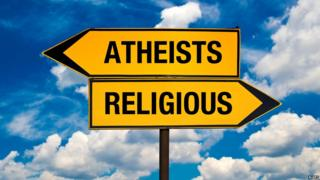 "Signposts pointing to ""Atheists"" on one hand, and ""religious"" on the other"