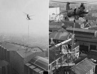 Two views of helicopter lowering spire on to cathedral