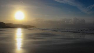 This sunrise over Amroth beach in Pembrokeshire was captured by Mark Tugwell