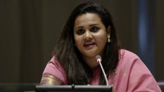 Ms. Wickramanayake dey talk for di 72nd United Nations General Assembly in New York on top how dem fit stop violence against women and girls on 20 September 2017.