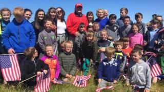 Donald Trump met with staff and pupils from Clohanes National School in County Clare