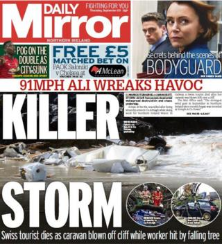 Daily Mirror front page 20/09/18
