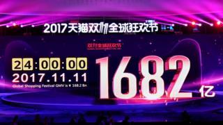 """2017年1682亿元的成交额又一次创造了阿里巴巴""""双十一""""的纪录"""