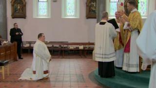 Bishop Noel Treanor ordaining Tony McAleese in the the Catholic priesthood
