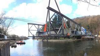 Temporary crossing at Pooley Bridge