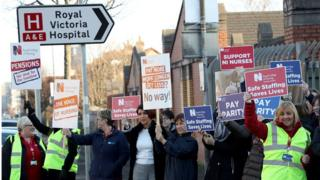 nurses gathered at the gates of the Royal Victoria Hospital today who are staging industrial action in protest at pay and staffing levels