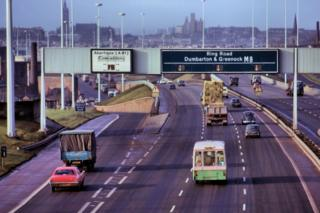 West along the M8 at Port Dundas and Dobbies Loan (1973)