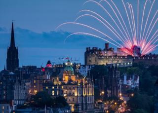 fireworks over the Edinburgh skyline