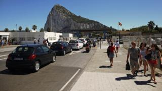 Cars waiting to cross the border from Spain into Gibraltar