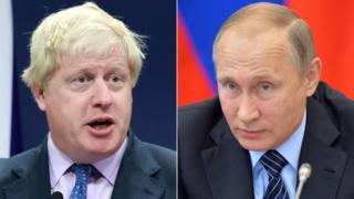 Boris Johnson ve Vladimir Putin