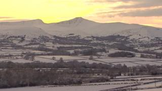 Snow covers parts of the Brecon Beacons