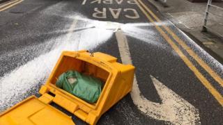 Grit bin on road outside Manchester Arndale