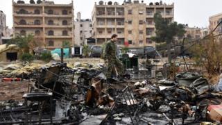 Debris of Russian field hospital in Aleppo, 5 Dec 16