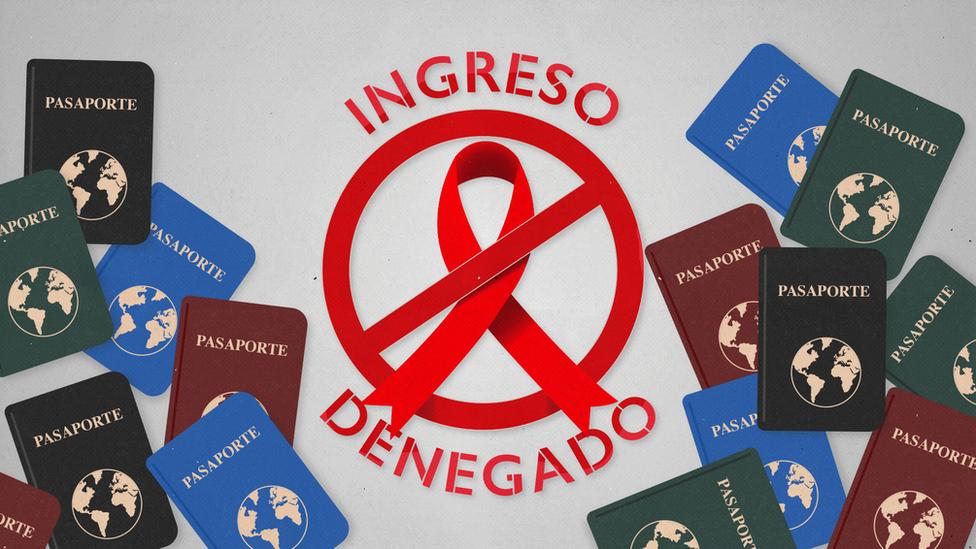 """Pasaportes junto a un lazo rojo símbolo del sida y el mensaje de """"Ingreso denegado"""""""