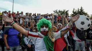 Iranian fans in Saransk outside the Portugal team's hotel June 2018