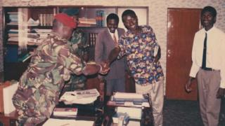 Ebrima Silah shakes hands with Jammeh