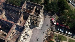 Estrutura do Museu Nacional após incêndio