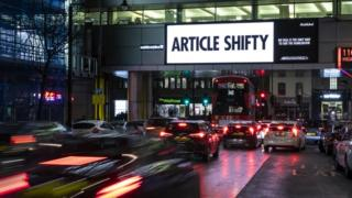 "A billboard in Holborn reads ""Article Shifty"" - a play on Article 50"