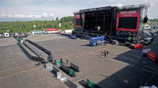 Empty space in front of the stage of the Rock am Ring festival in Germany on 3 June 2017
