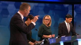 Adam Price (left) challenges Rebecca Long-Bailey (second from right)