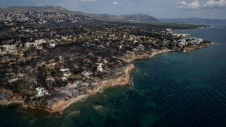 Burnt area from the hills to the sea, Mati, Greece