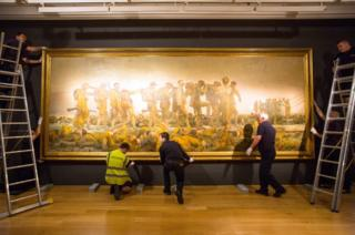 John Singer Sargent's World War One painting Gassed is prepared for transport by staff