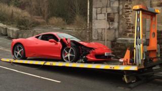 The crashed Ferrari
