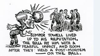 """Cartoon from 1921 about """"Bumper Towell"""" and a game between Jarrow and Darlington"""