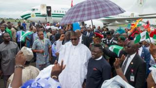 President Muhammadu Buhari arrives at the Margaret Ekpo international airport in Calabar.