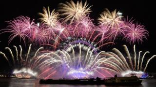 Fireworks over the London Eye