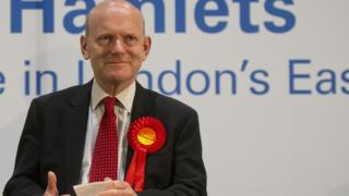 John Biggs is elected as the new mayor of Tower Hamlets after the count at the Excel Centre in Londo