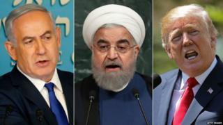 इस्रायलचे नेतान्याहू, इराणचे रूहानी आणि अमेरिकेचे ट्रंप