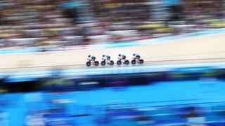 Canada compete in the men's 4000m team pursuit qualifying during the track cycling