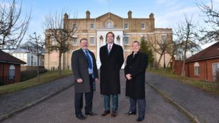 Paul Wranek, Nicholas Weaver and Ewan Dodds outside Anglesea Heights, Ipswich