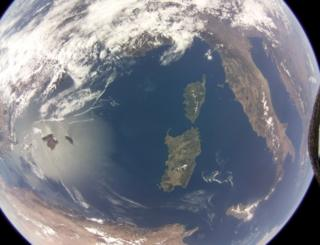 Raspberry Pi computer looks down on Earth