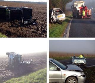 Crashed vehicles on A 140 near Roughton