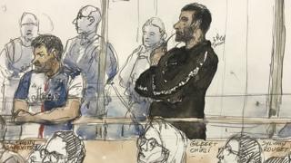 in_pictures Court sketch on February 4, 2020, shows Gilbert Chikli (r) and Anthony Lasarevitsch (l) during their trial at the Paris court house
