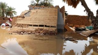 A view of a destroyed house following floods in Wad Ramli, north of Khartoum, Sudan, 25 August 2019.