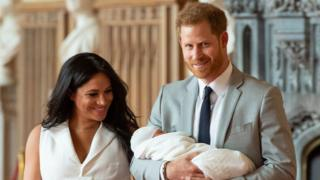 Meghan and Harry showing off their new son, Archie Harrison, for the first time