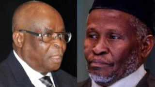 Suspended Chief Justice of Nigeria Justice Walter Onnoghen (Light) and di Acting Chief Justice, Tanko Mohammed (Right).