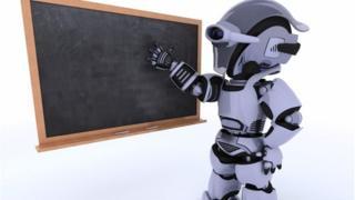 Robot at blackboard