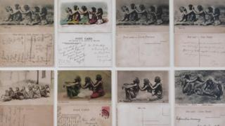 A collection of postcards showing women sitting in a line taking out lice from the hair of the woman in front of them
