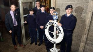Nick McQuaid (from Bowmer & Kirkland), Frankie Gallop, Andrew Jolley (chairman, Northampton Sea Cadets), Ethan Hayes, Jade Taylor and Kallem Lovell