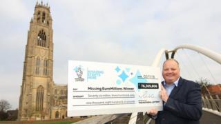 Lottery cheque at Boston Stump, Lincolnshire