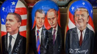 матрешки с Обамой, Медведевым, Путиным и Трампом