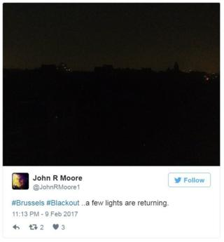 Tweet: Brussels blackout: Few lights returning