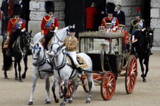 The Queen at Trooping the Colour in a horse-drawn carriage